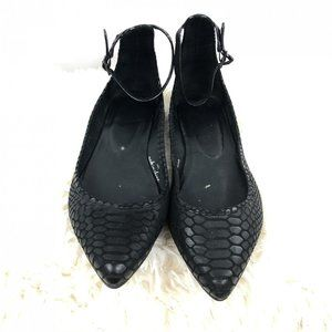 Joie Ankle Strap Pointed Flats Sz. 39.5 Black